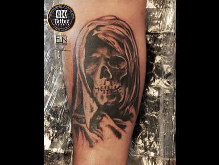 Skull  Realism  Erkan  Nehir  Tattoo  Artist  Dövmeci  Marmaris  Turkey Black Grey Arm