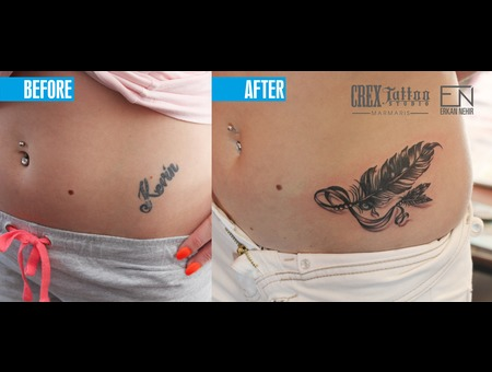 Coverup  Feather  Erkan  Nehir  Tattoo  Artist  Dövmeci  Marmaris  Turkey Black Grey Hip