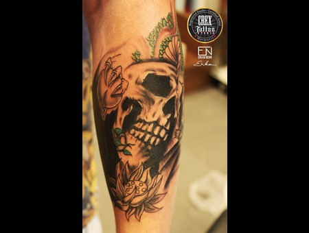 Skull  Japanese  Erkan  Nehir  Tattoo  Artist  Dövmeci  Marmaris  Turkey Black Grey Arm