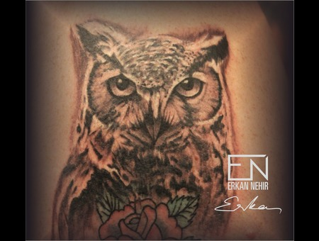 Owl  Realism  Erkan  Nehir  Tattoo  Artist  Dövmeci  Marmaris  Turkey Black Grey Shoulder