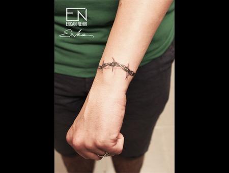 Barbwire  Erkan  Nehir  Tattoo  Artist  Dövmeci  Marmaris  Turkey Black Grey Arm