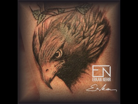 Eagle  Bird  Erkan  Nehir  Tattoo  Artist  Dövmeci  Marmaris  Turkey Black Grey Shoulder