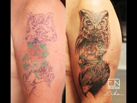 Owl  Eagle  Erkan  Nehir  Tattoo  Artist  Dövmeci  Marmaris  Turkey Black Grey Shoulder