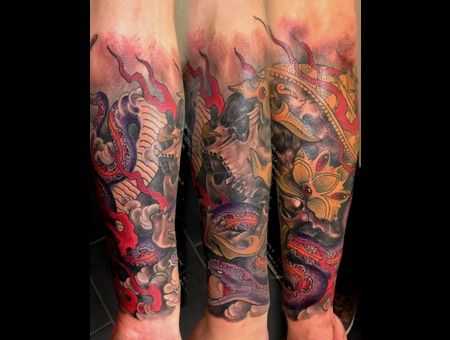 Tibet Skull Color Tattoo Color