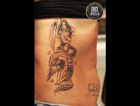 Angel  Erkan  Nehir  Tattoo  Artist  Dövmeci  Marmaris  Turkey Black Grey Ribs