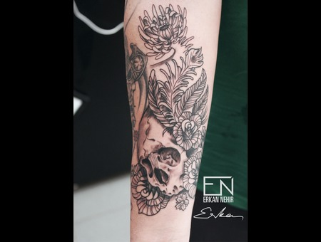 Skull  Japanese  Erkan  Nehir  Tattoo  Artist  Dövmeci  Marmaris  Turkey Black Grey Forearm