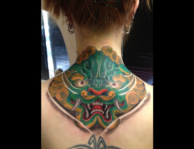 Foo Dog Color Tattoo Japanese