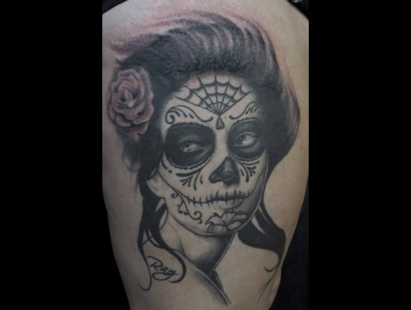 Day Of The Dead Black Grey Thigh