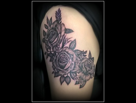 Black & Grey  Scar Cover Up  Realistic  Roses Black Grey Thigh