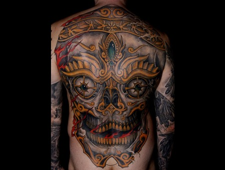 Back Tibet Skull Tattoo Color Big Color