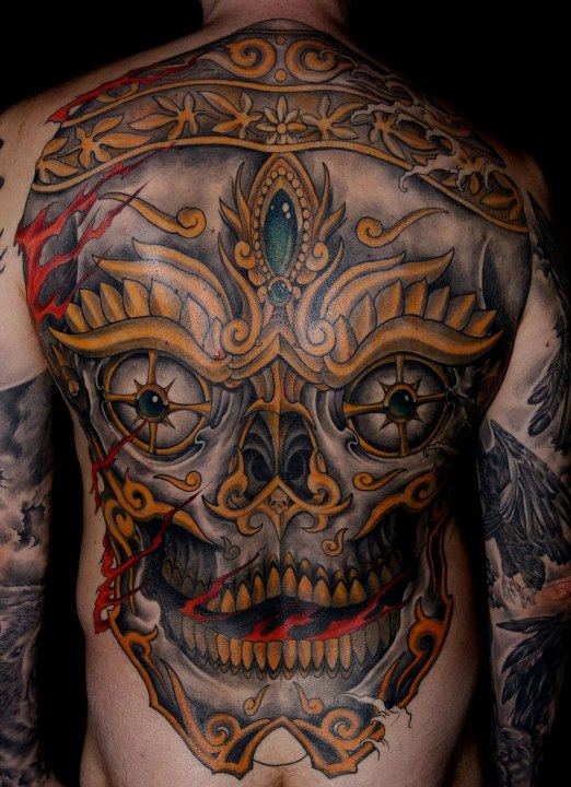 tibetan skull tattoo chest images galleries with a bite. Black Bedroom Furniture Sets. Home Design Ideas
