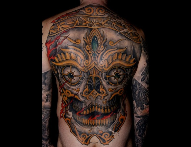 Back Tibet Skull Tattoo Color Big Color