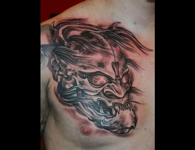 Hannya Black And Grey Japanese Tattoo Asian Chest Black Grey