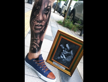 Realistic Portrait  Black Grey Lower Leg