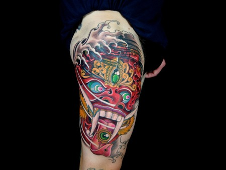 Bali Mask Tattoo Japanese Asian Oriental Leg Big Color Color