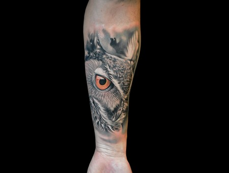 Owltattoo Hypperealism Blackandgrey Animaltattoo Black Grey Forearm