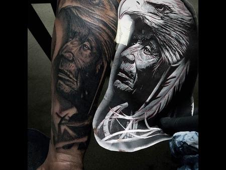 Native High Contrast Tattoo  Black Grey Forearm