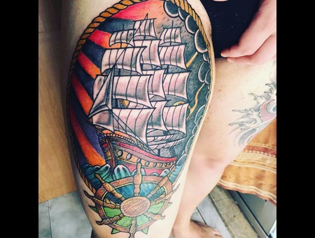 Neo Traditional Nautial Tattoo Color Thigh