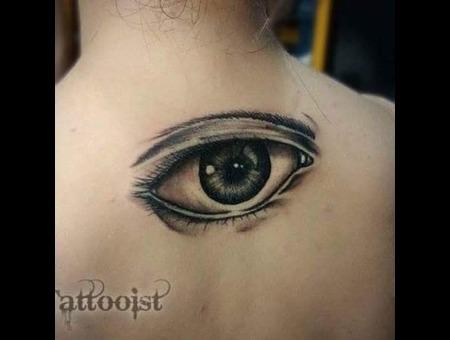 Reaslistic Black And Gray Eye Black Grey Back