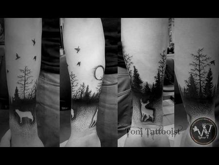 Black/Dot Work  Black Grey Forearm