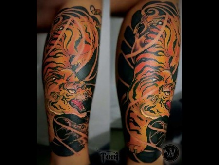 Traditional Japanese Tiger Tattoo Color Lower Leg