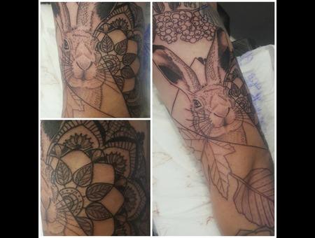 Rabbit Mandala Black And Grey Arm Tattoo Black Grey Arm