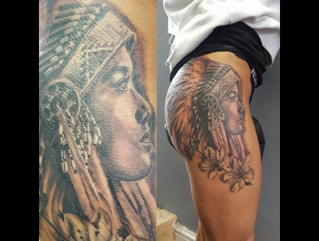 Native American Woman Black And Grey Tattoo Hip Tattoo Flowers  Black Grey Hip
