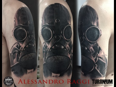 Realistic  Black And Gray  Gas Mask  Black Grey Arm