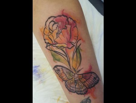 Flower  Butterfly  Watercolour  Color Forearm