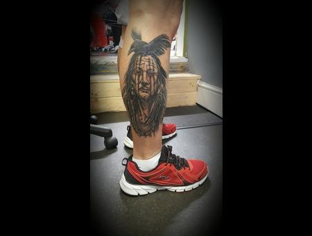 Native American  Black Crow  Calf Tattoo Black Grey Lower Leg