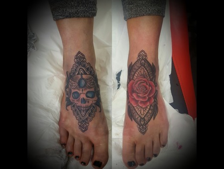 Skull  Roses  Mandala  Henna  Color Foot