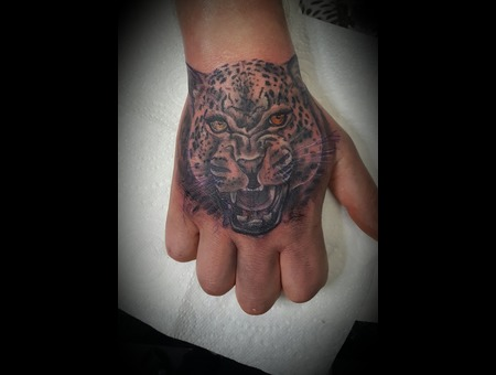 Leopard  Animal  Hand Tattoo Black Grey Forearm
