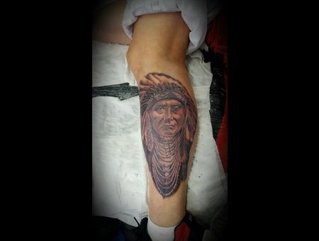 Native American  Calf Tattoo Black Grey Lower Leg
