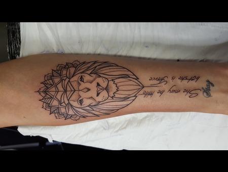 Lion  Forearm Tattoo  Black Grey Forearm