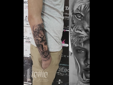 Tiger Woman Portrait Black Grey Arm
