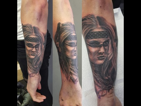 Native American Woman  Arm Tattoo    Black Grey Forearm
