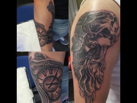 Religious Tattoi  Angel  Black Grey Arm