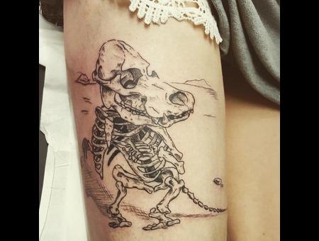Moomin Skeleton  Black Grey Thigh