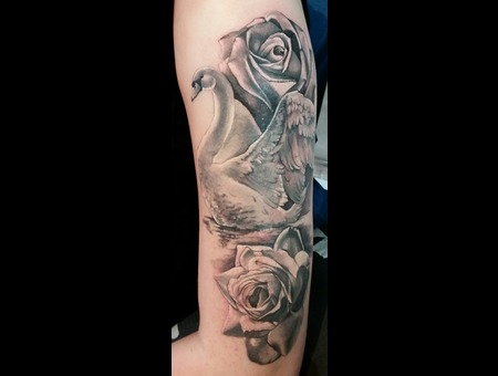 Swan  Realism  Rose  Water Black Grey Arm