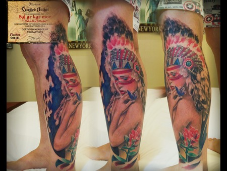 Relasitic  Colours  Native Girl   Portrait  Morden Art Color Lower Leg