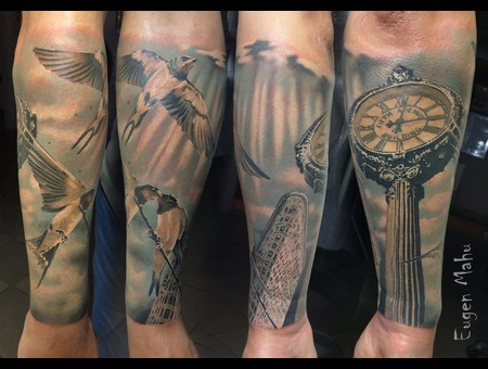 Tattoo  Realistic  Art  Clock  Birds Color Forearm