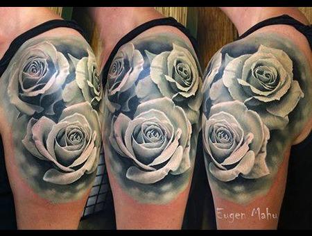 Tattoo  Realistic  Art  Roses Black Grey Arm