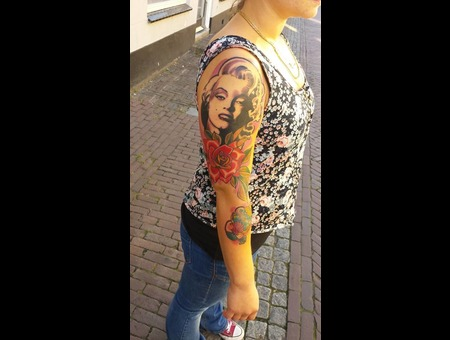 Tattoo  Art  Marilyn Monroe  Rose Color Arm