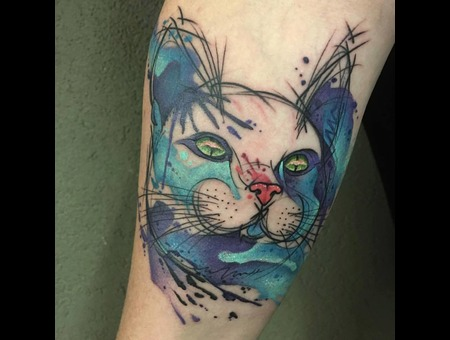 Tattoo  Art  Cat  Trashy Color Arm