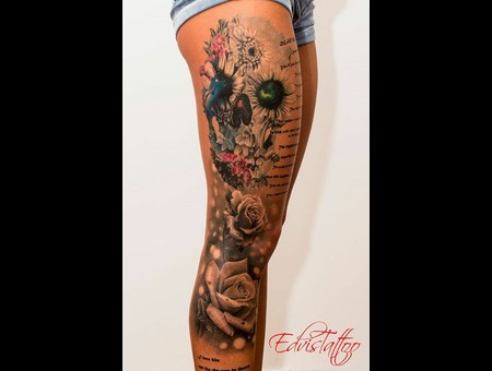 Color Skull Flower Sexy Girl Best Tattoo Roses Realistic Fantasy Color Thigh