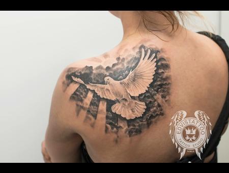 Peace Bird Realism Angel Best Tattoo Black Grey Back