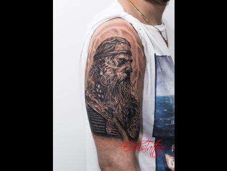 Portrait Viking Realism Details Best Tattoo Black Grey Shoulder