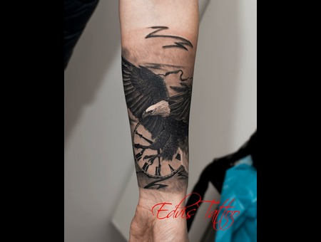 Eagle Realistic Clock Tattoo  Black Grey Forearm