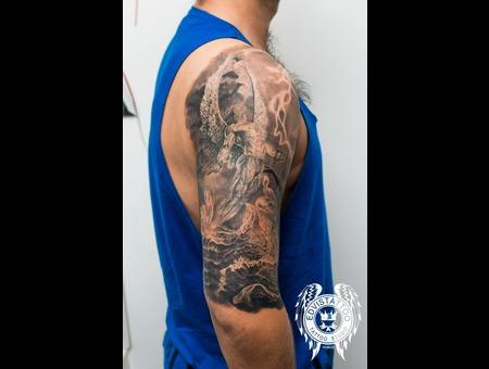 Angel Fantasy Details Realistic  Best Tattoo Men Black Grey Shoulder