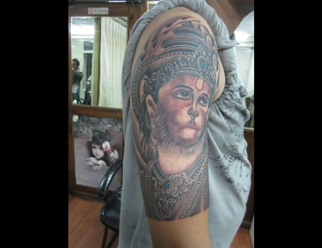 Hanuman Tattoo Black White
